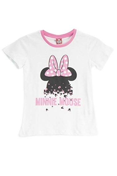 Mickey Mouse Mickey & Minnie Mouse Lisanslı Fuşya Kız Çocuk T-Shirt Beyaz